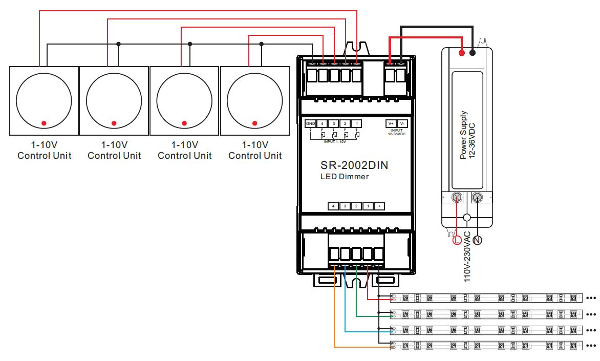 led dimmer 4 kanal zur ansteuerung per 0 1 10v f r. Black Bedroom Furniture Sets. Home Design Ideas