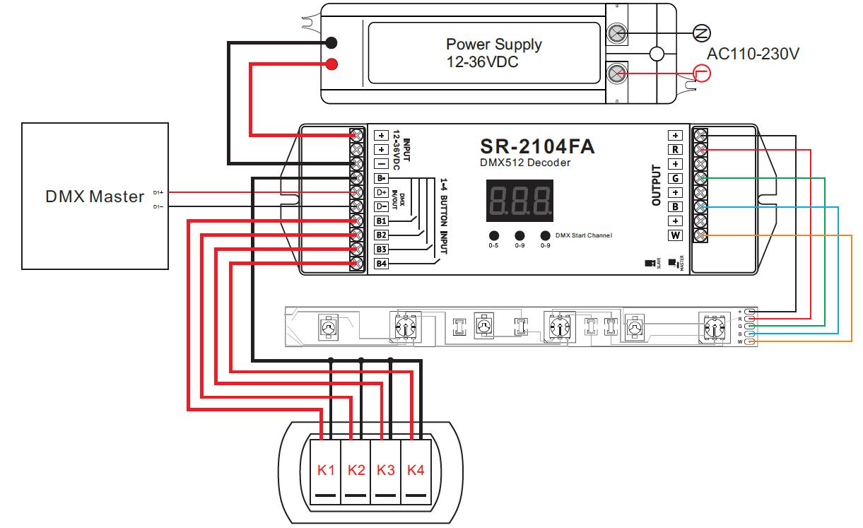 Dmx 512 Decoder Konstantspannung Mit Master