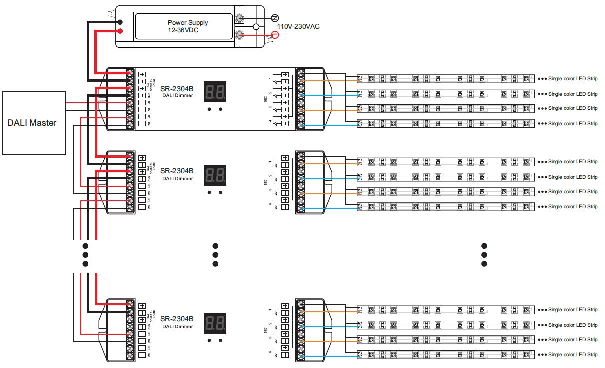4-Kanal-Lichtsteuergerät Push-Dim Konstantspannung mit DALI ...