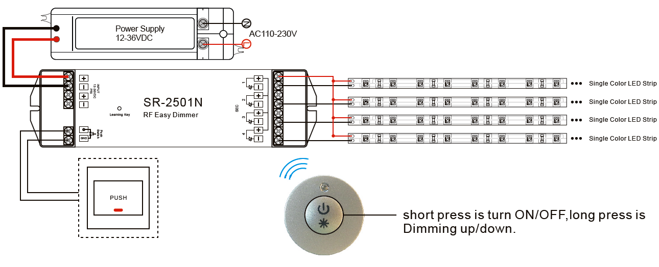 LED Funkdimmer tragbar für einfarbige LED Technik SR-2807